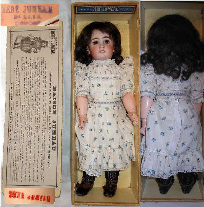 Bebe Jumeau c.1880s with Original Clothes, in Original Box in Lovely Condition showing Marks on the Doll