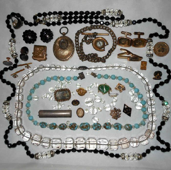 Very Interesting Antique and Vintage Jewelry, Compass on a Fob, Great Crystal Beads, Gorgeous Antique Locket and More