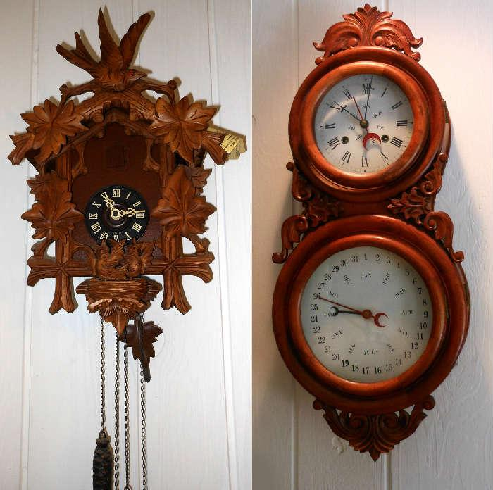 German Cuckoo Clock in working order and Nicely Cased Clock and Calendar