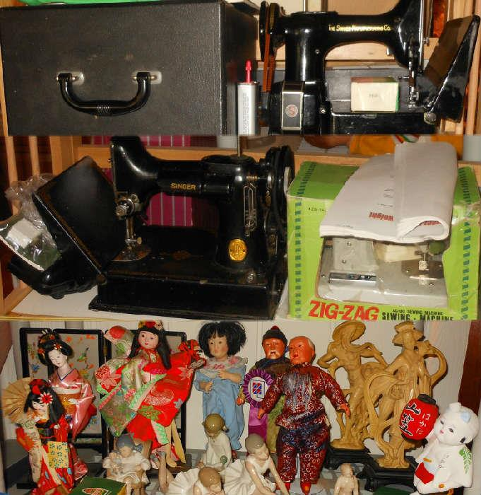 2 Featherweight Sewing Machines and a sample of the large selection of Asian Dolls and Figures