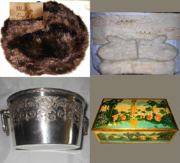 British Mink Hat, Angora Mittens and Collar, Long Leather Evening Gloves, Nice Vintage Ice Bucket and Colorful Old Tin