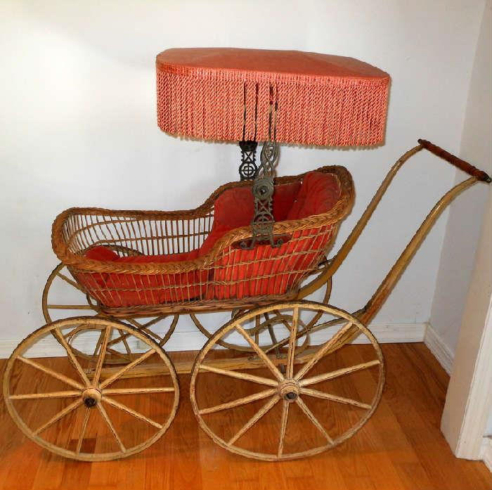 Large and Very Impressive Fringed Baby Pram/Surrey in Very Good Condition