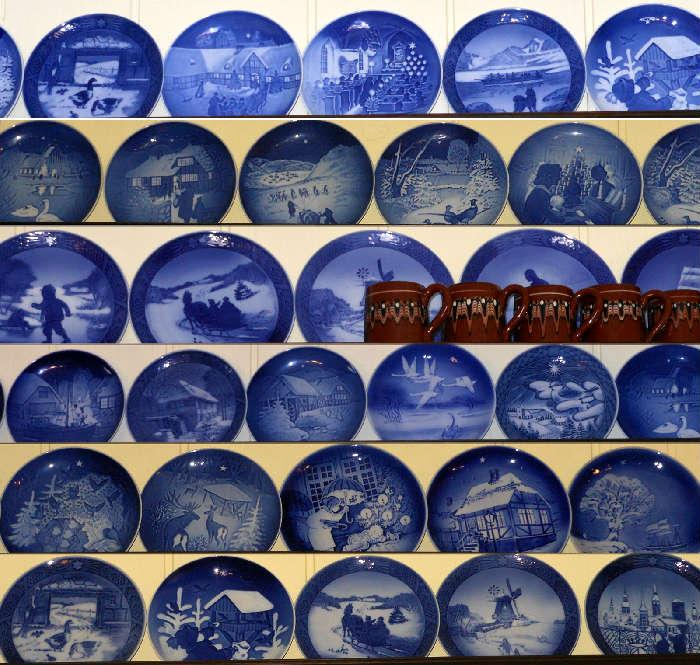 Some of the approximately 65 Royal Copenhagen Plates