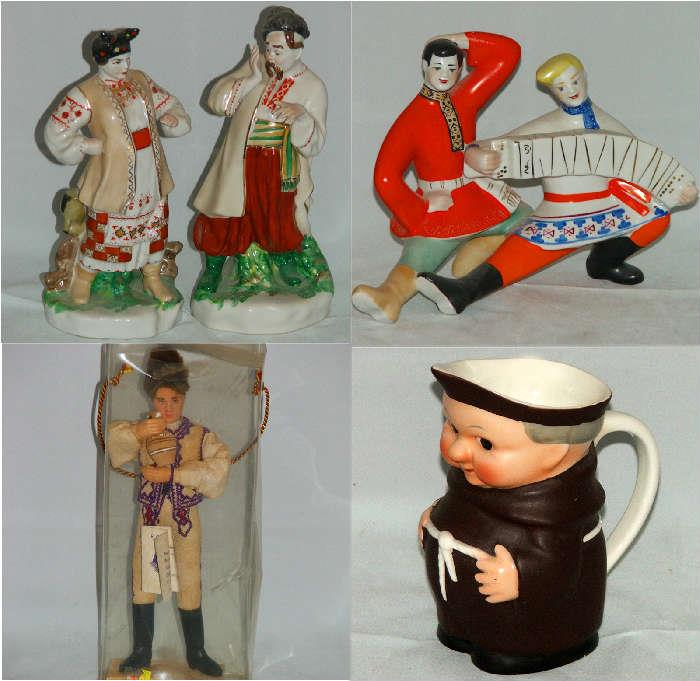 Vintage Russian Figurines, Russian Doll and Hummel Goebel Monk