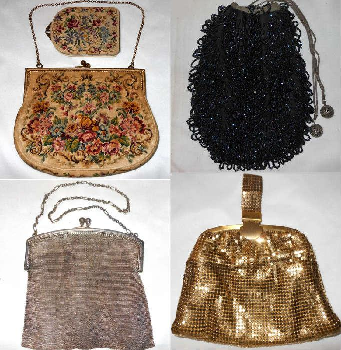 Exquisite Antique Handbags including German Silver Mesh, Petit Point with Matching Compact, Whiting and Davis and Beaded Drawstring
