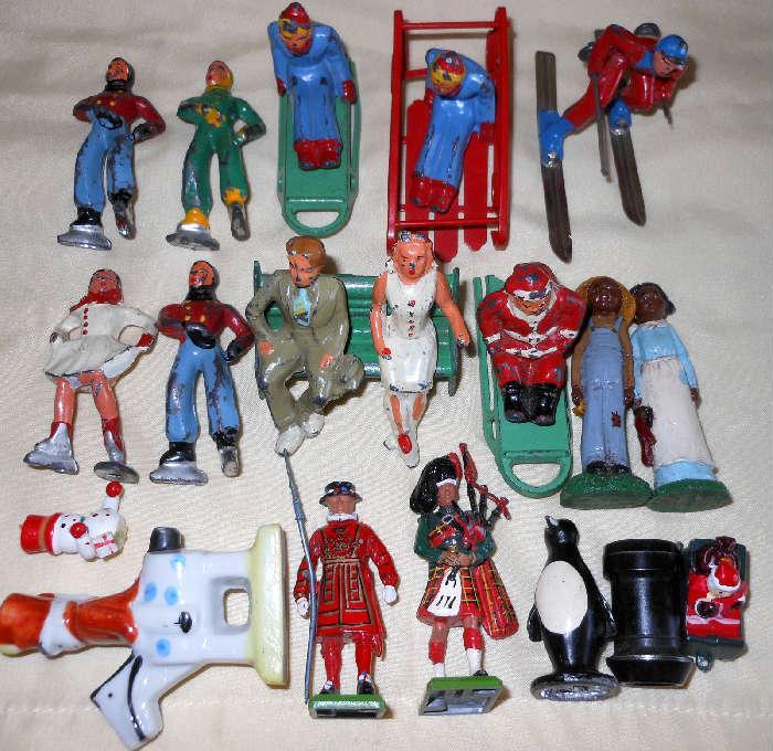 Vintage Miniature Cast Iron Figurines including a Cast Iron Penguin & Wooden Figures
