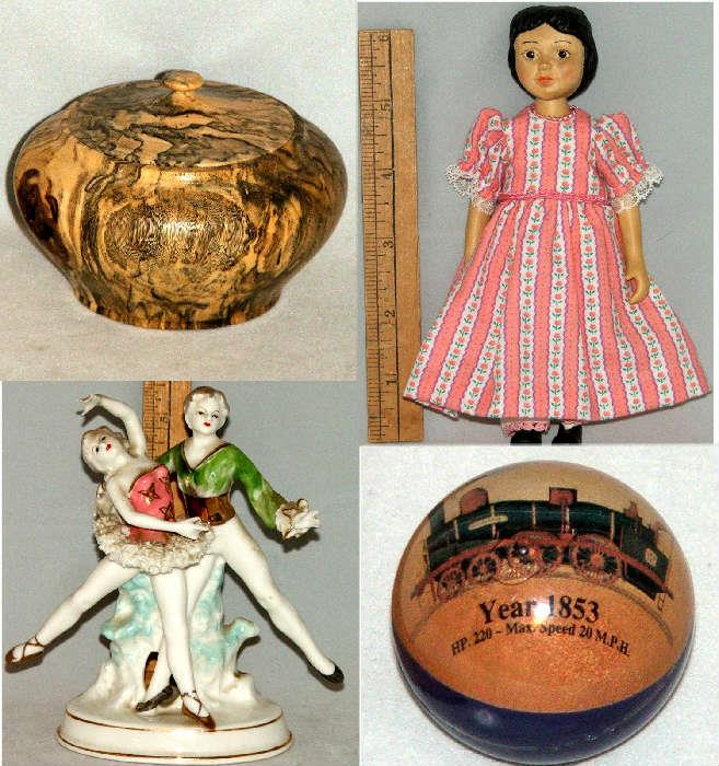 Tiny Lidded Wooden Box, Antique Doll and more