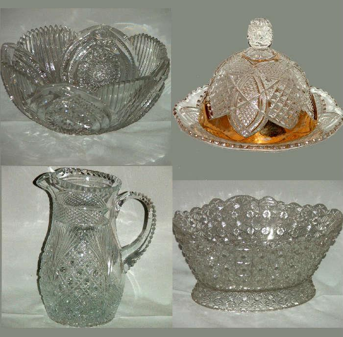 Deeply & Sharply Cut Glass Bowl and other Cut Glass Pcs