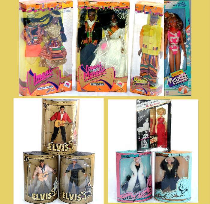 Elvis Dolls, Marilyn Monroe Dolls, Maxie Doll and Imani and Menelik; all MIB