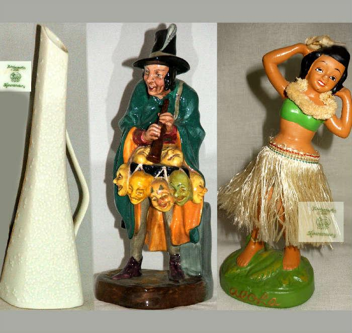 Small Hutschenreuther Pitcher, Royal Doulton Mask Seller and Vintage Hula Wobbler
