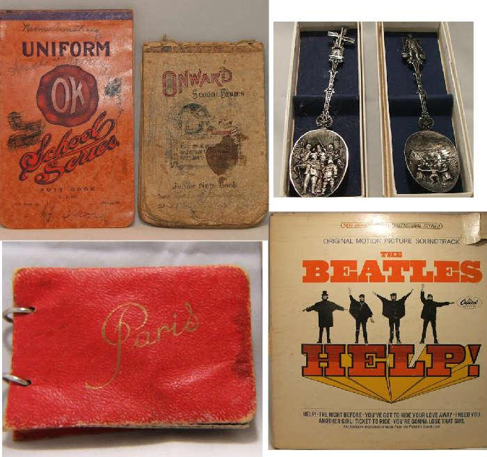 Miniature Paris Post Card Book, The Beatles Help Album, Antique Booklets and Collector Spoons