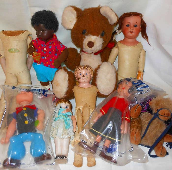 Old Dolls and Popeye and Olive Oyl