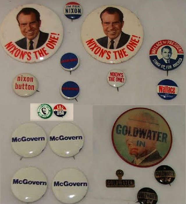 Political Buttons, Goldwater, Nixon, Wallace and LBJ