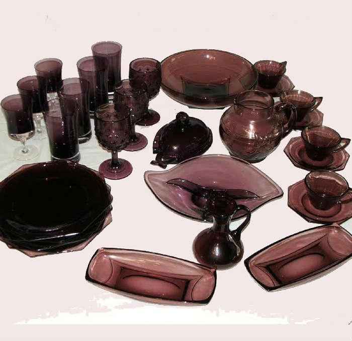 Large Selection of Amethyst Glass