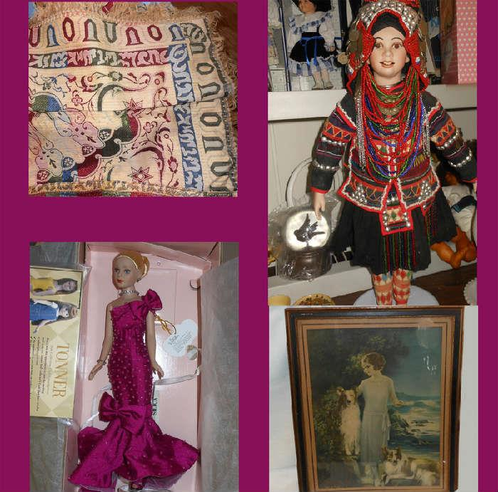 Lovely Russian Fabric with Original Tag, great dolls and vintage print