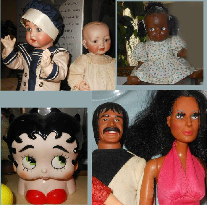 Antique Kestner Doll, the other Sonny and Cher, Betty Boop Bank