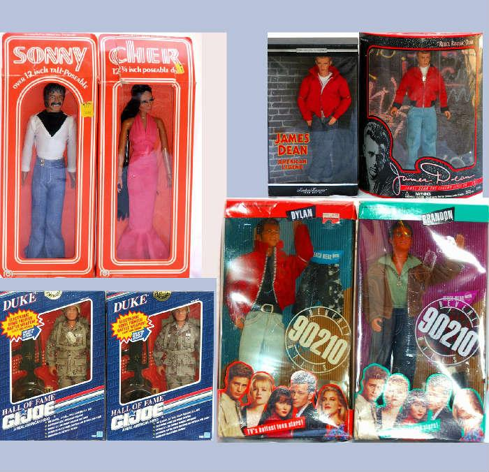 Sonny and Cher Dolls, (there are 2 sets) James Dean and a couple of the GI Joes