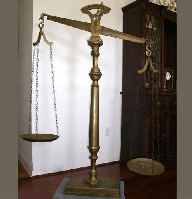Giant Brass Scale, approximately 6ft tall