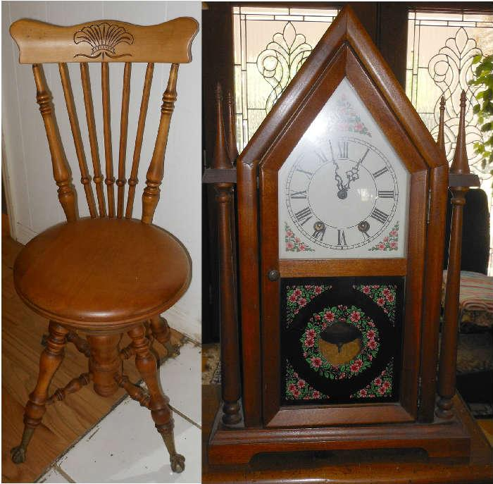 Nice Piano Chair and Vintage Clock