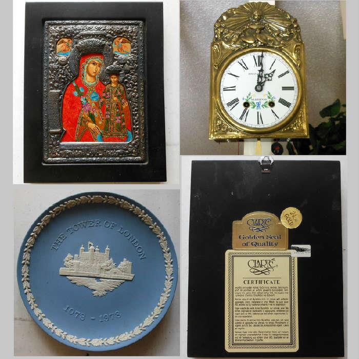 Antique French Louis Jaquine St Etienne Comtoise Clock, Clarte Russian Icon-bottom right image showing info on back, Wedgewood Tower of London Plate