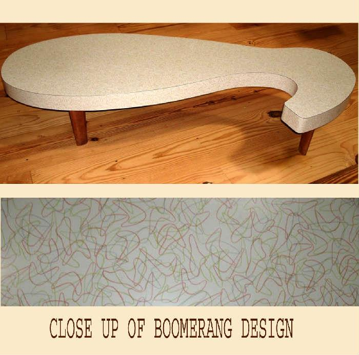 Mid Century Modern Coffee Table with Boomerang Design