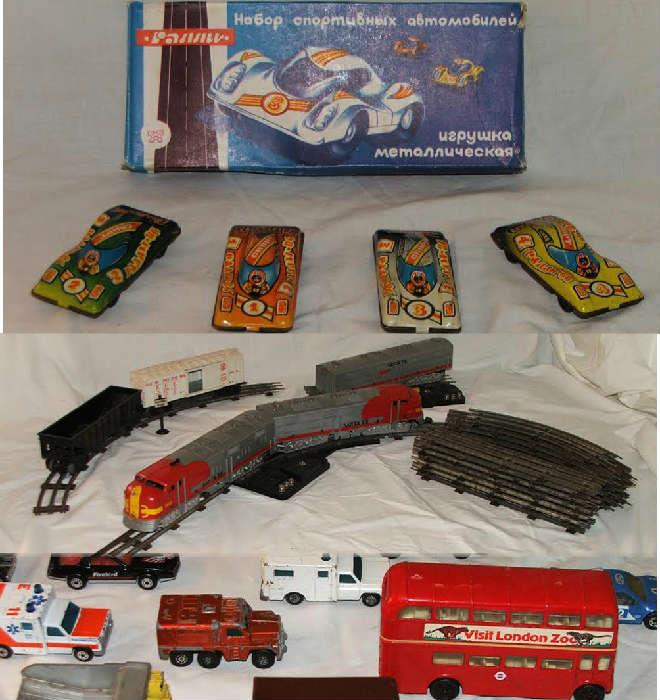 Russian Toy Cars and English Double Decker Bus and Trains