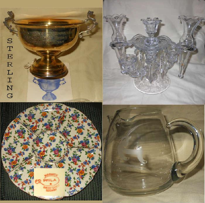 Sterling Silver Marriage Cup, Cambridge Type Glass Candle Holder, Chintz Plate and Mid Century Glass Pitcher