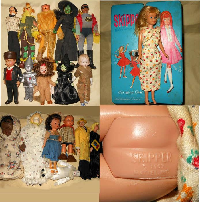 Vintage Skipper and Skipper Case along with Wizard of Oz Dolls, Dick Tracy and Superman
