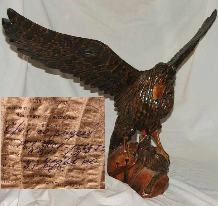 One of Two Large Carved Wooden Russian Eagles with label