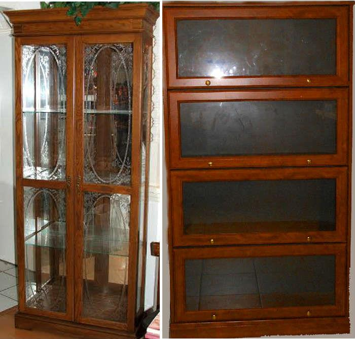 Lovely Lighted Display Cabinet and Barrister Bookcase