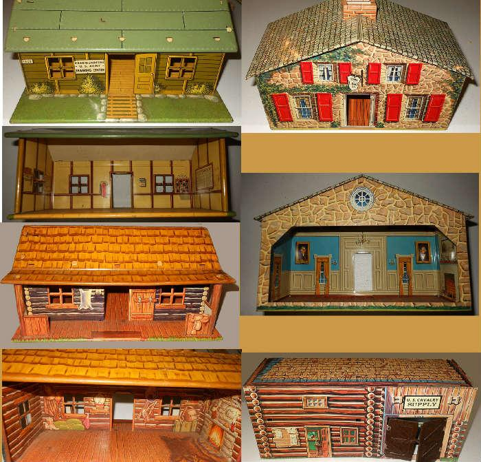 Vintage Metal Toy Houses in very nice condition-showing fronts and backs Including Headquarters US Army Training Center and Sons of Liberty House