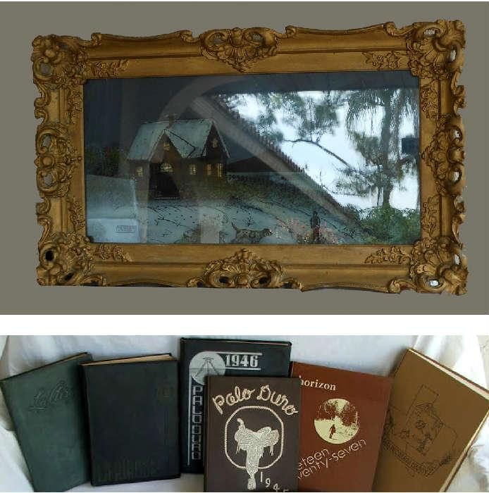 Reverse Painted Beautifully Framed Picture and Old Yearbooks