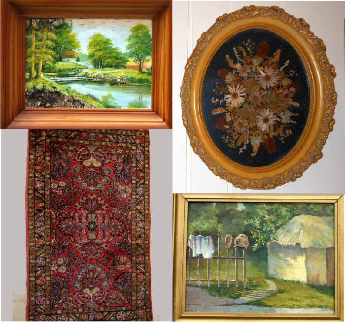 Small Russian Artwork, Pressed Flowers, Nice Old Small Rug and Signed Oil Painting