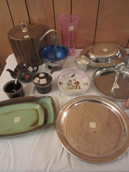 Frankoma, Nice Silver Plate Vegetable Server, Cute Made In Germany Child's Dish, Other Nice Items