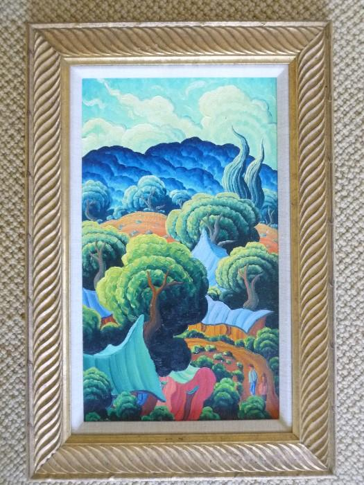 "New Mexico Painting ""Pink Adobe"", 18 x 11"" by K. Douglas Wiggins, listed artist."
