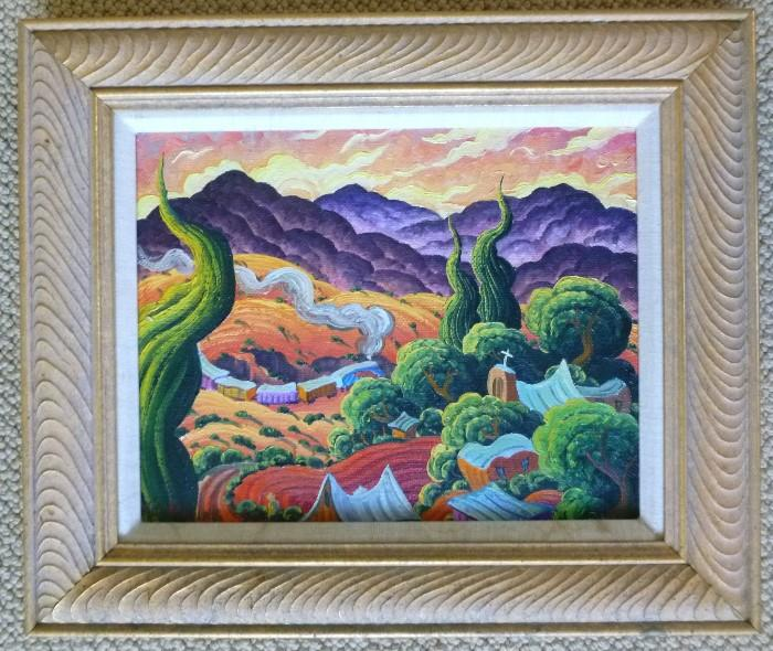 "Dusk at Galisteo, 11"" x 14"" by K. Douglas Wiggins, listed artist."