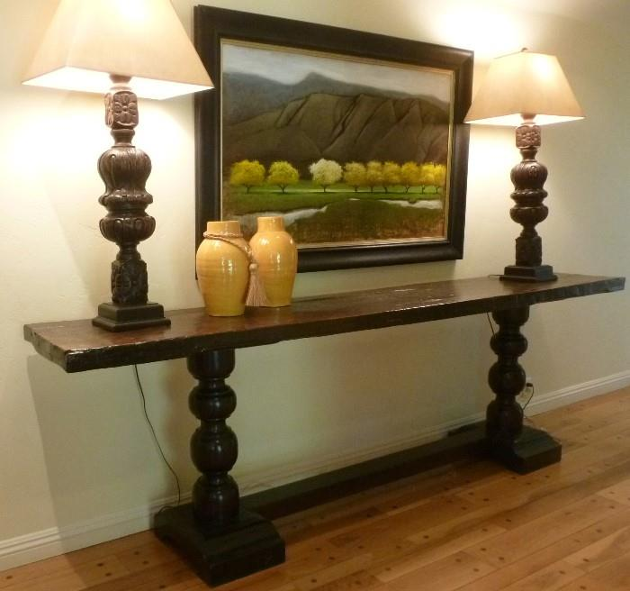Painting by John Richard, pair of Piano Leg Lamps, and 8' plank top trestle table.