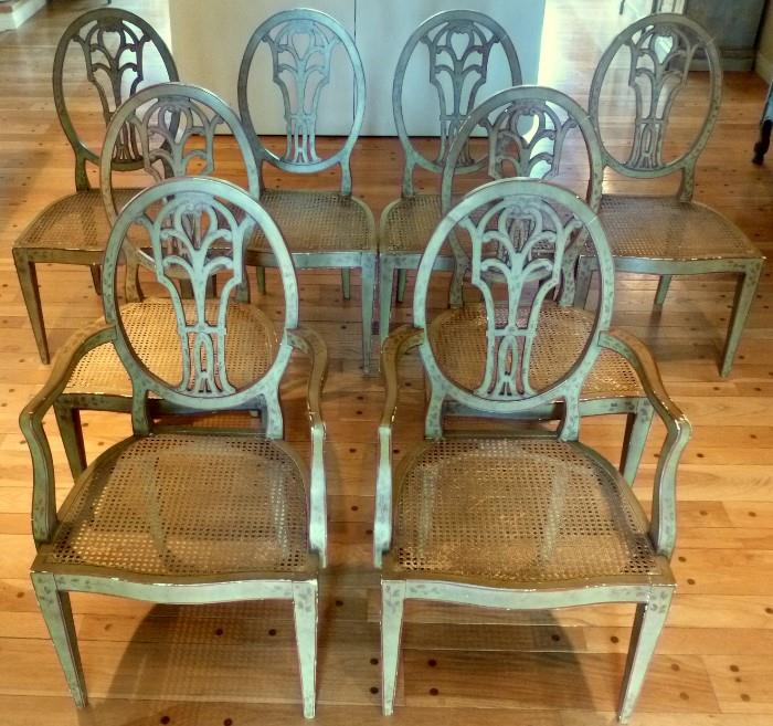 Set of 8 hand painted Neoclassic Italian Dining Chairs, with banquet covers and cushions (not pictured)