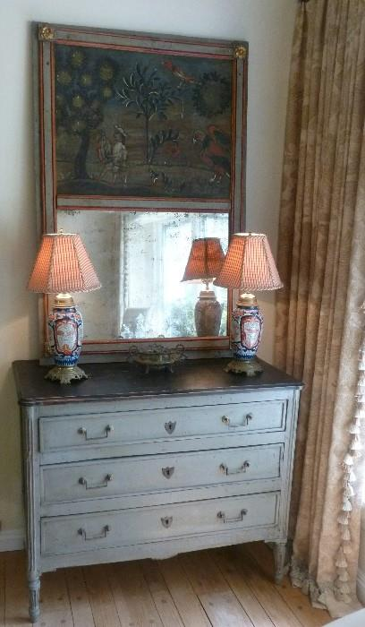 Louis 16 dove gray painted commode with trumeau mirror.
