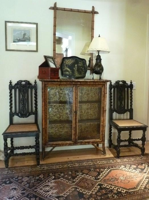 English 19th century Bamboo Bookcase and matching mirror