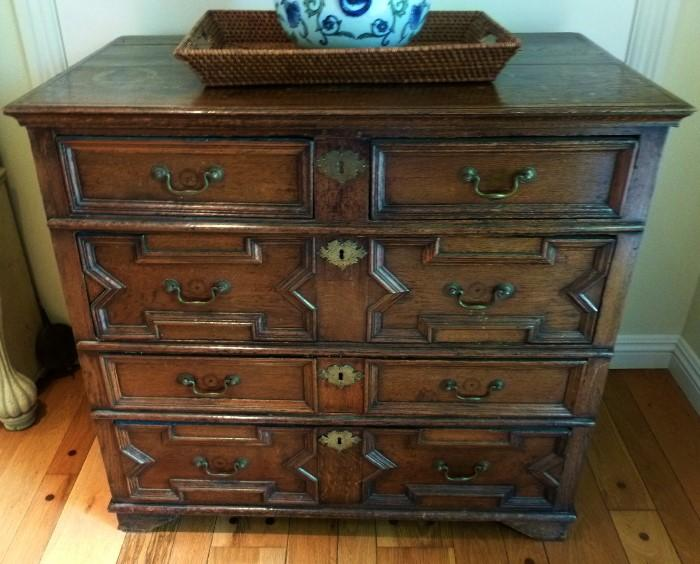 Circa 1690 English chest of drawers in oak.