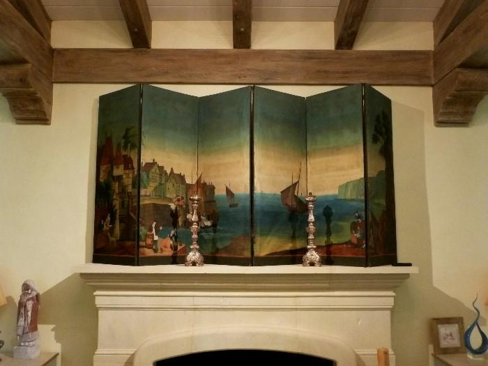 Early 19th century six panel screen from Normandy