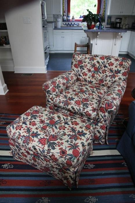 Custom-upholstered chair and ottoman