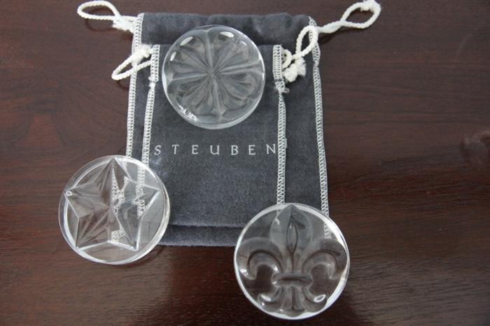 Steuben paperweights - snowflake and fleur-de-lis
