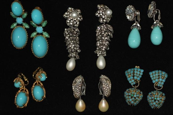 """Stunning 1960s costume jewelry - OH, if these things could talk!  Worn by a true 1960s """"jet setter"""" to galas, Hollywood receptions, etc."""