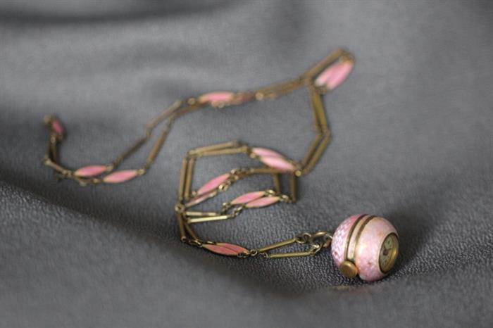 Bucherer pendant watch with chain - beautiful pink guilloche