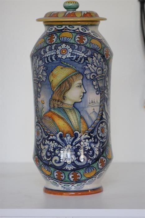 "One of two impressive Renaissance style Italian Majolica lidded jars by Antonio Margaritelli of Deruta.  20"" high"
