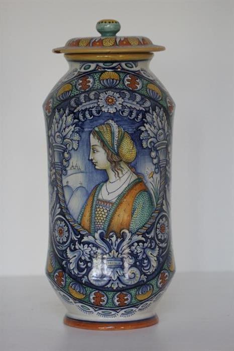 "Breathtaking Italian Majolica Renaissance style lidded jar by Antonion Margaritelli of Deruta (22"" high, lid ""as is"")"