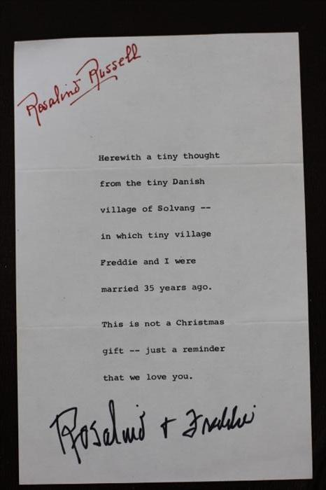 Christmas letter from legendary movie star Rosalind Russell (His Girl Friday, Auntie Mame)