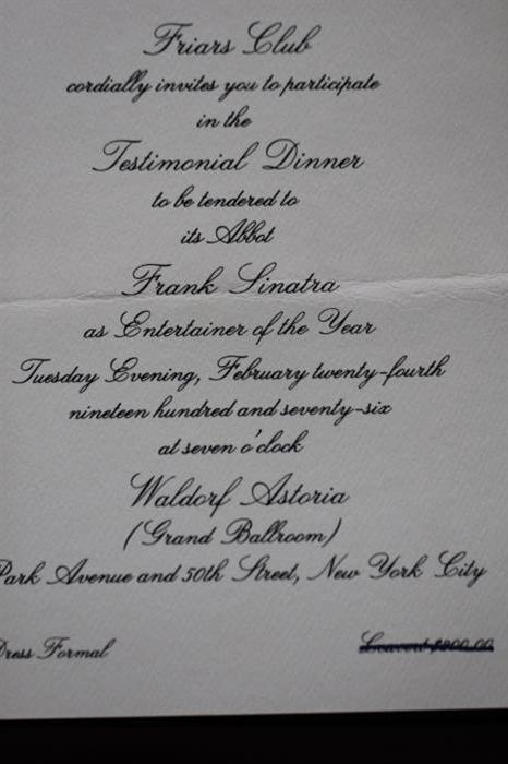 """Invitation to 1976 Friars Club """"Entertainer of the Year"""" Dinner honoring Frank Sinatra."""